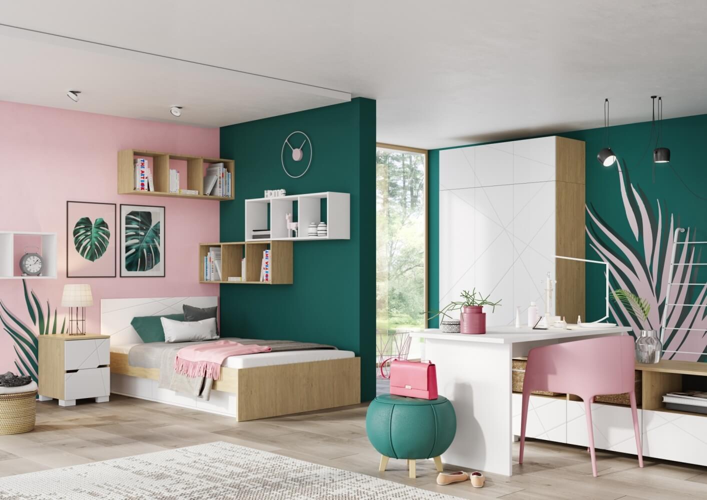 Детска стая в розово и зелено