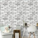 Тапет имитиращ бяла тухлена стена