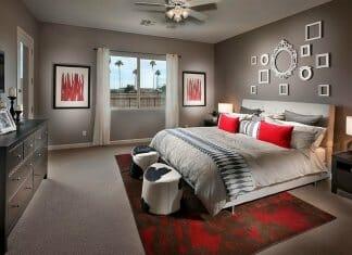 Идея за спалня в сиво и червено