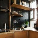 Черен гръб на кухня