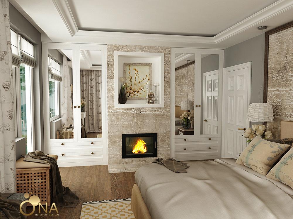 Красива спалня с камина