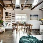 Тавански апартамент с тухлена стена