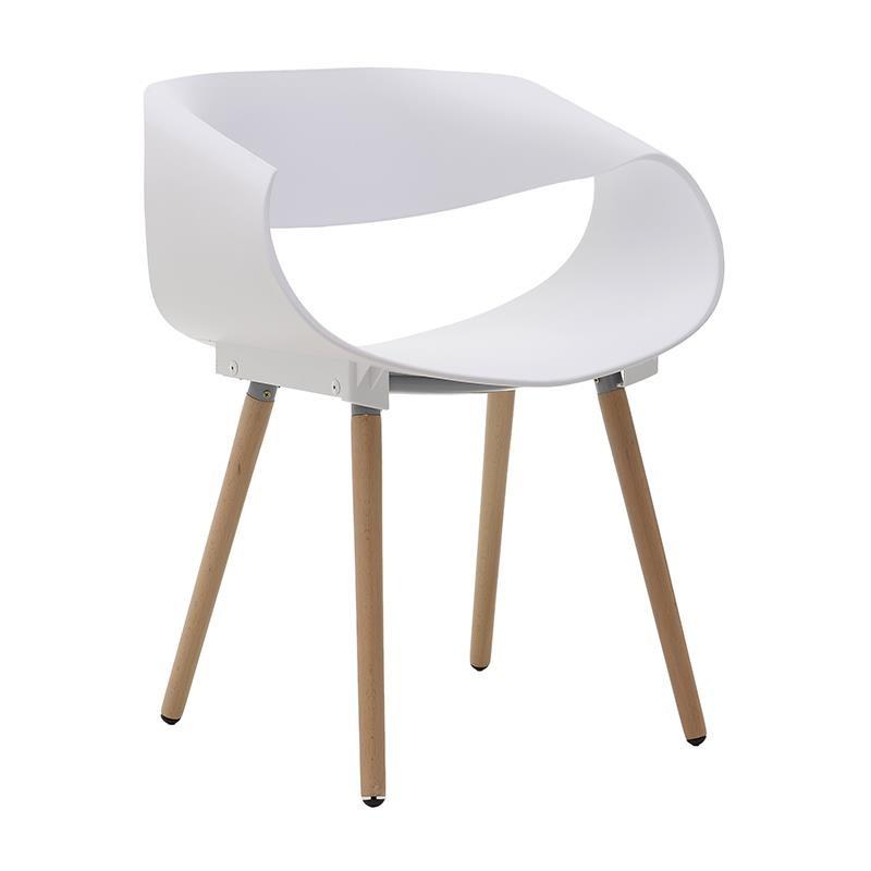 Бял стол с дървени крака (1)