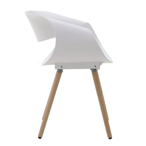Бял стол с дървени крака - отстрани