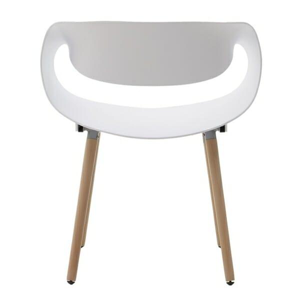 Бял стол с дървени крака - отзад