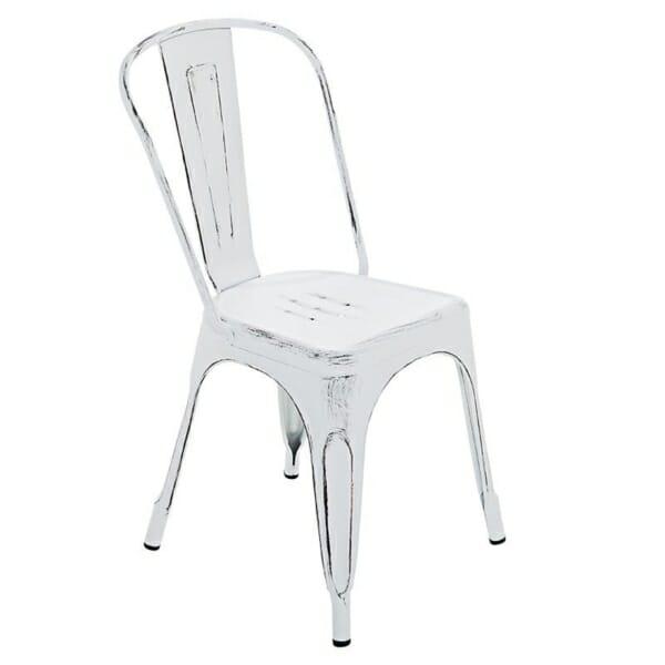 Бял метален стол