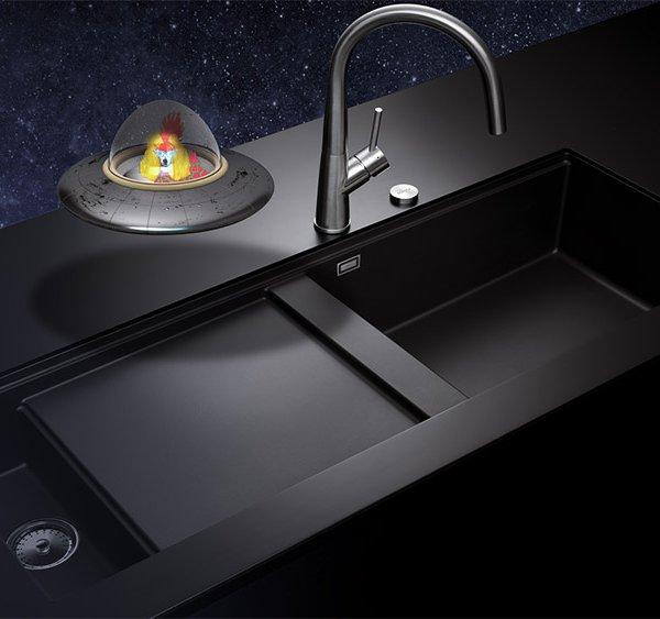 Голяма черна кухненска мивка SCHOCK Prepstation
