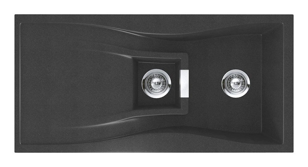 Черна гранитна мивка за кухня SCHOCK WATERFALL D150