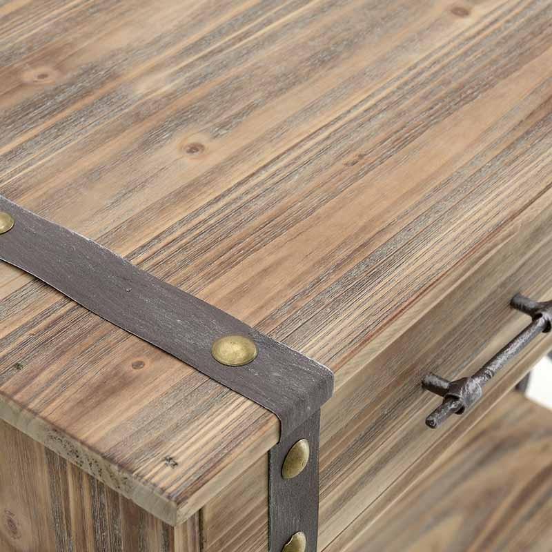 Дървена конзола в индустриален стил - отворена