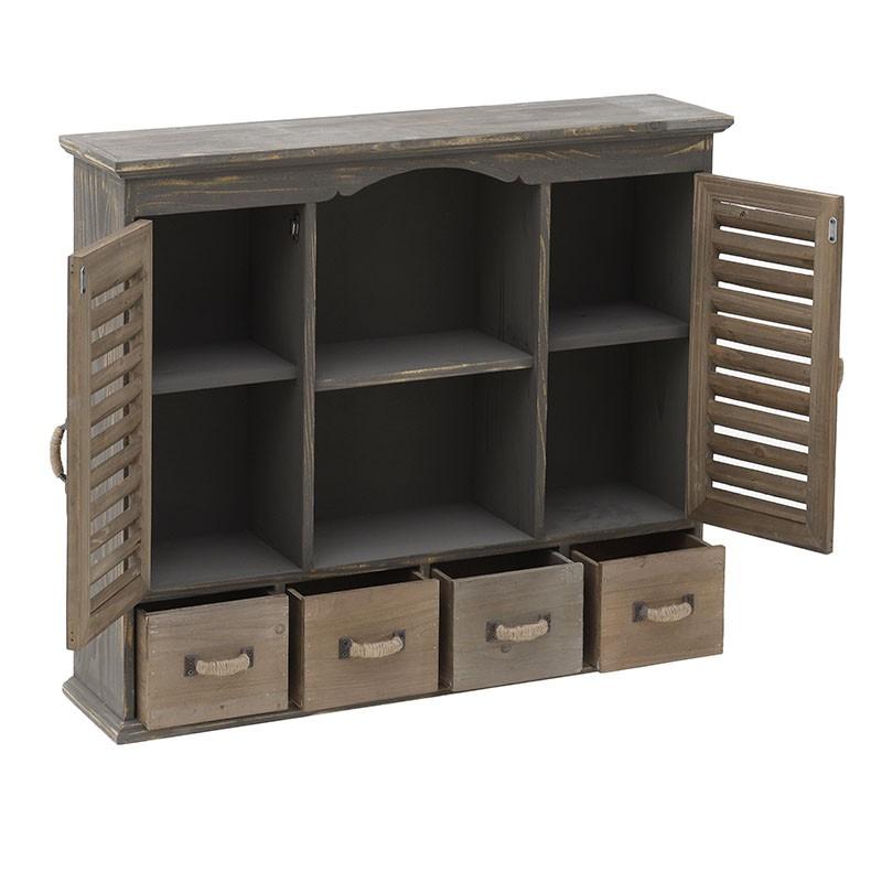 Дървен шкаф с много отделения - отворен