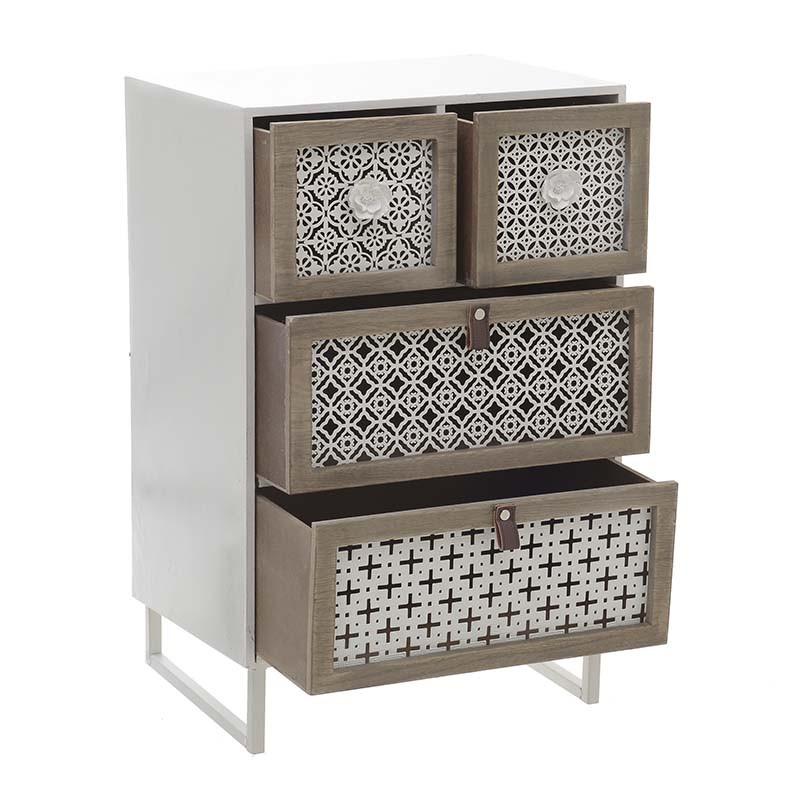 Дървен шкаф с четири чекмеджета - отворен