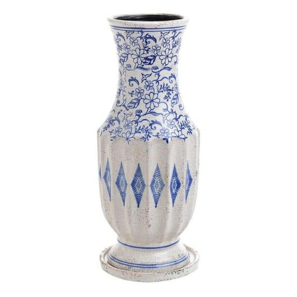 Керамична ваза в бяло и синьо