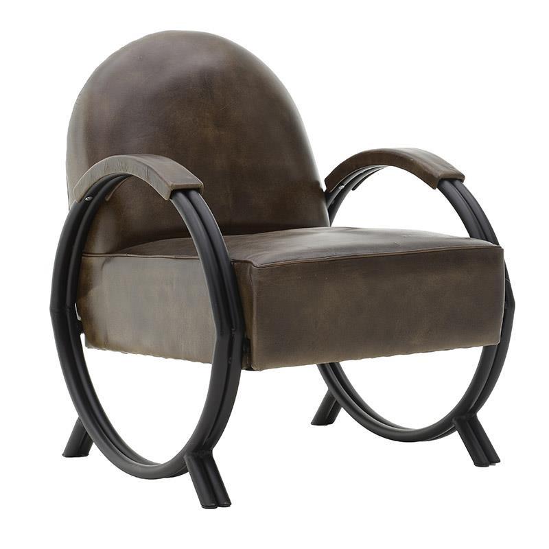 Кожено кресло с метални крака