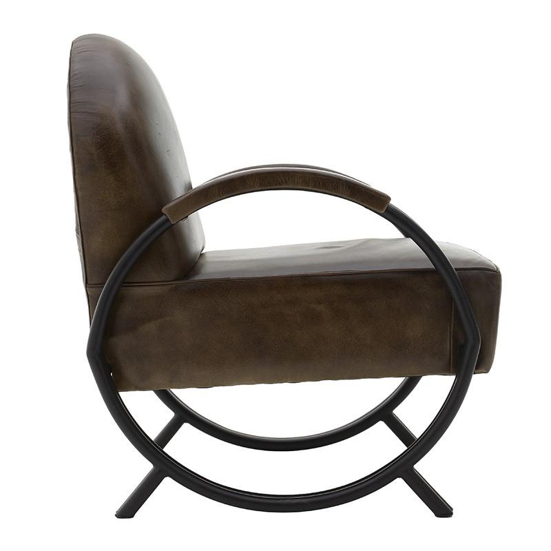 Кожено кресло с метални крака - отстрани