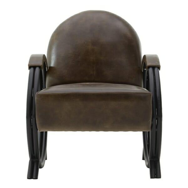 Кожено кресло с метални крака - отпред