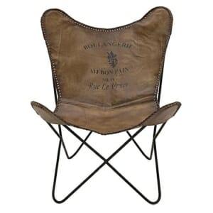 Кожен стол с метални крака