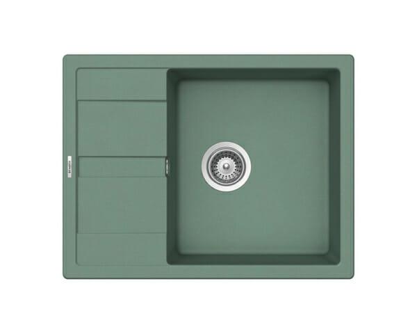 Компактна зелена мивка от гранит SCHOCK Ronda D100L цвят Sage