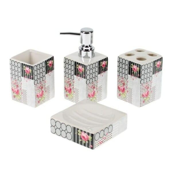 Комплект за баня от 4 части с рози