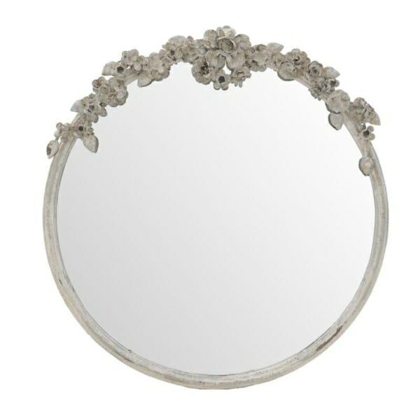 Кръгло огледало с релефна метална рамка