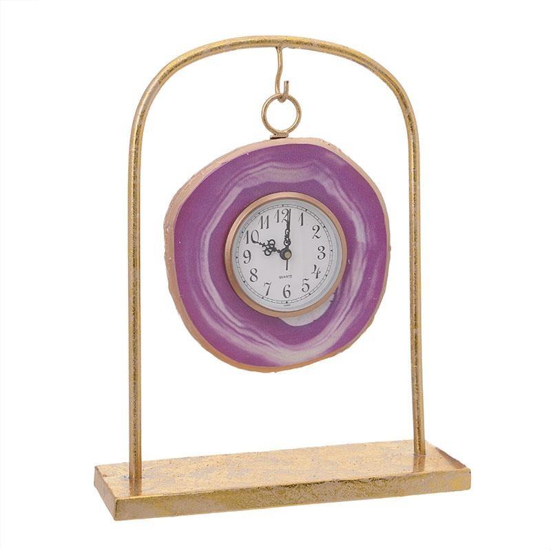 Настолен часовник в златисто и розово