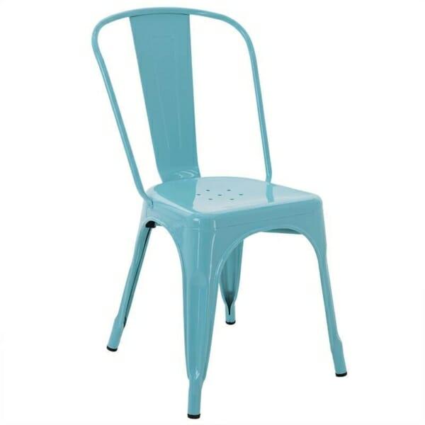 Син метален стол