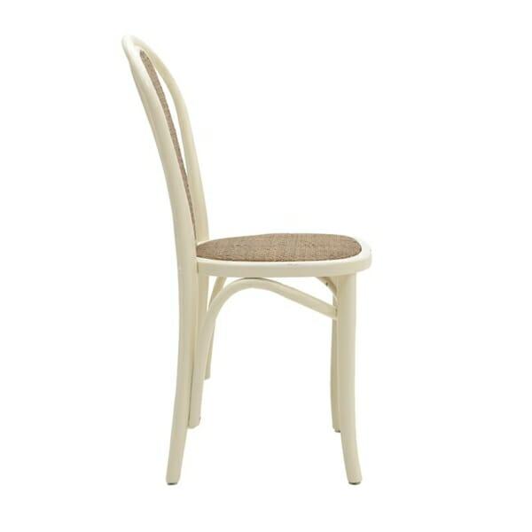 Трапезен стол от дърво и ратан - отстрани