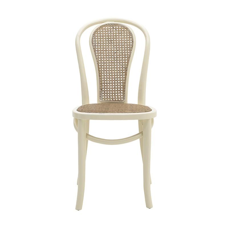 Трапезен стол от дърво и ратан - отпред