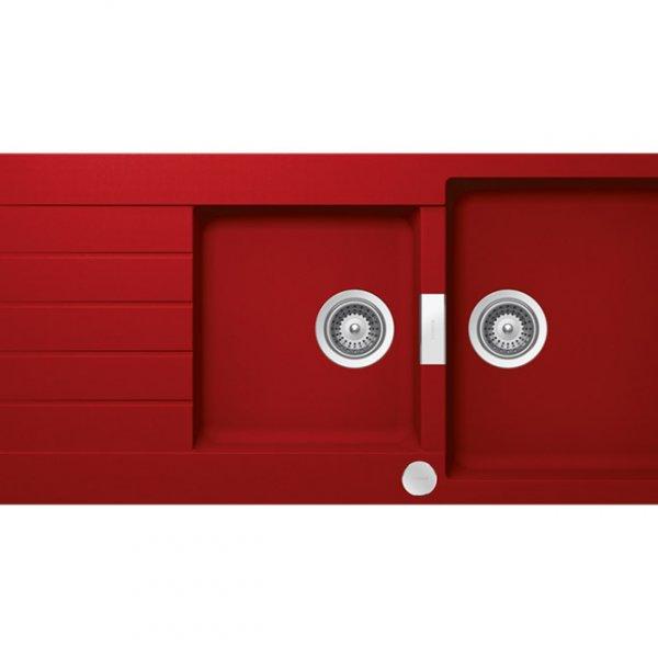 Червена гранитна мивка с две корита SCHOCK Signus D200 (цвят Rouge)