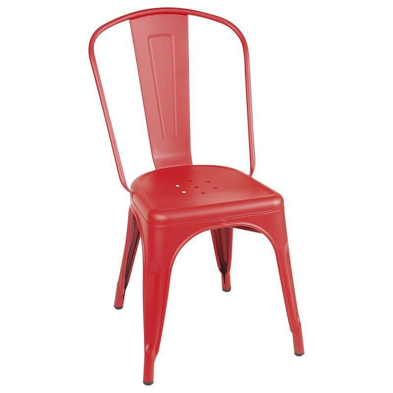 Червен метален стол
