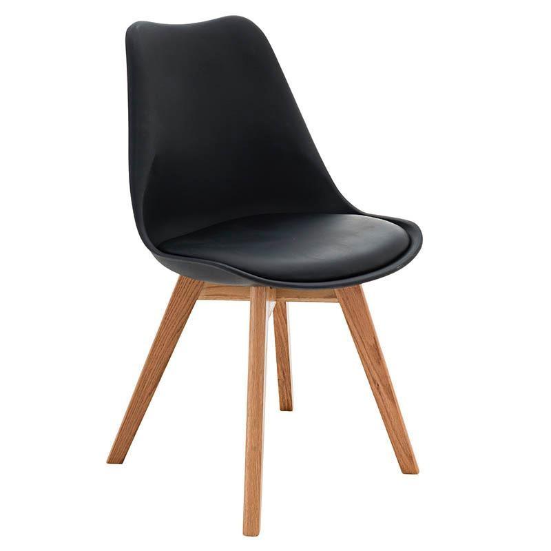 Черен стол с дървени крака