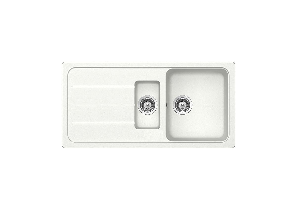 Бяла мивка с две корита Schock FORMHAUS D150L, цвят Alpina