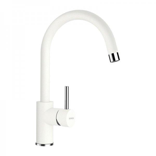 Бял висок смесител за кухня SCHOCK Plutos, цвят Alpina