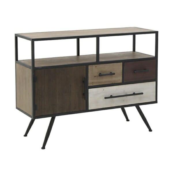 Дървен шкаф с чекмеджета в земни цветове