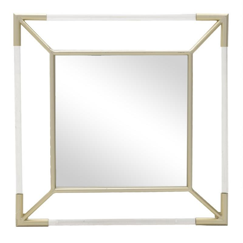 Квадратно огледало с метална рамка в златисто