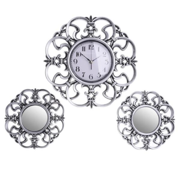 Комплект стенен часовник с 2 огледала