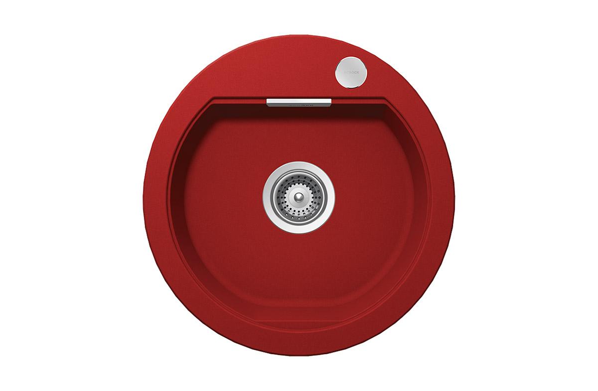 Кръгла червена мивка SCHOCK Mono R100 цвят Rouge