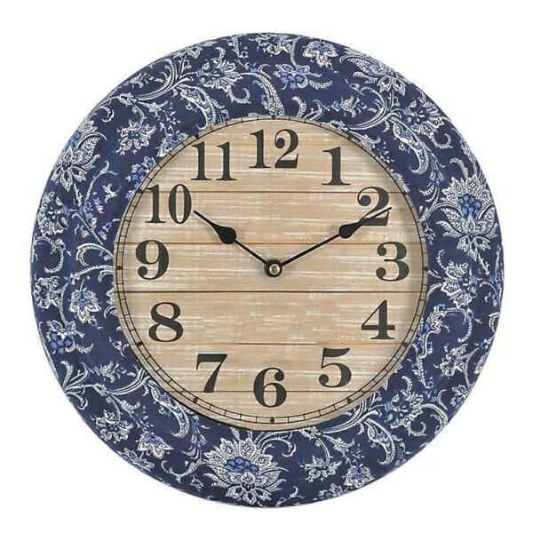Кръгъл часовник с текстилна рамка в синьо