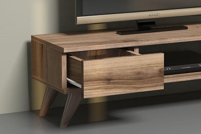 Малък ТВ шкаф с 1 чекмедже - отворен