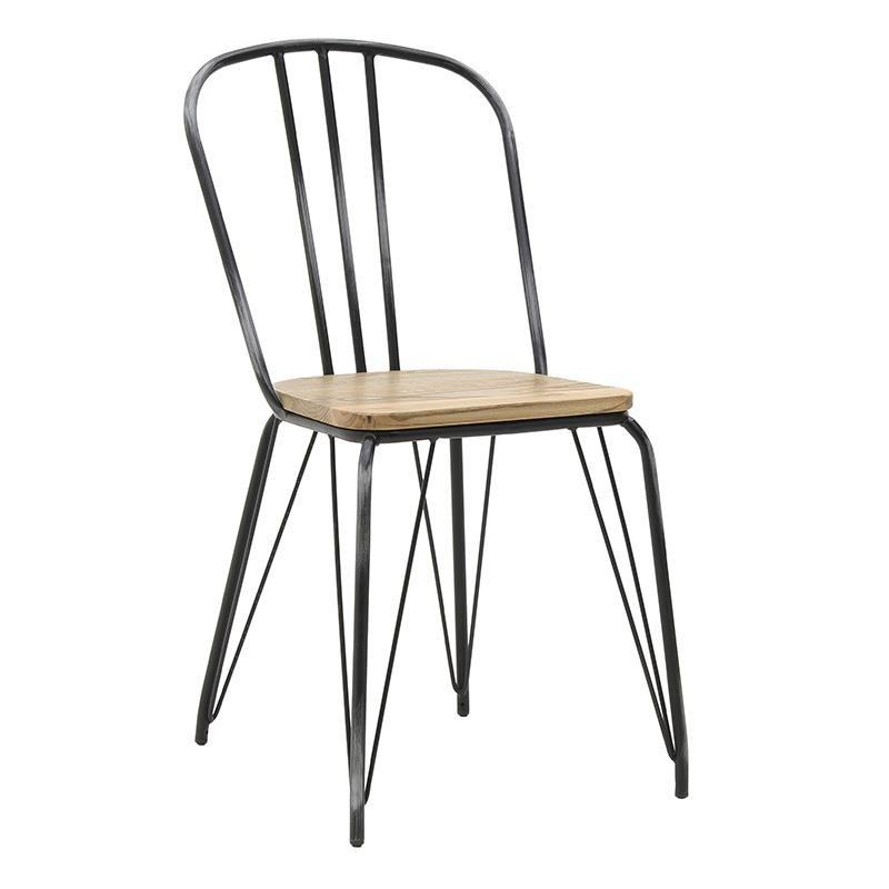Метален стол с дървена седалка