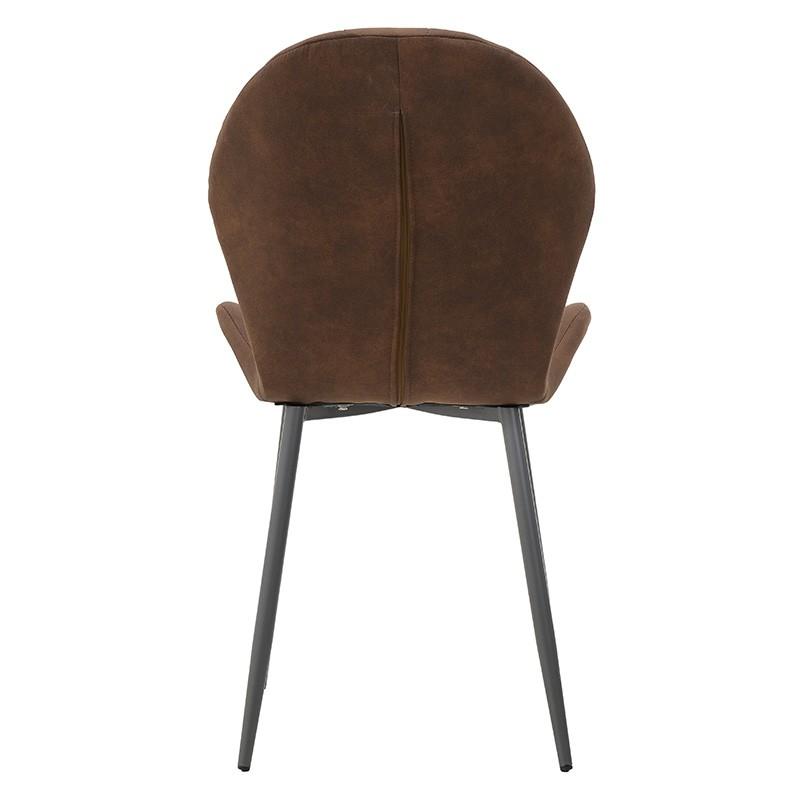 Модерен стол с извита седалка в кафяво - отзад