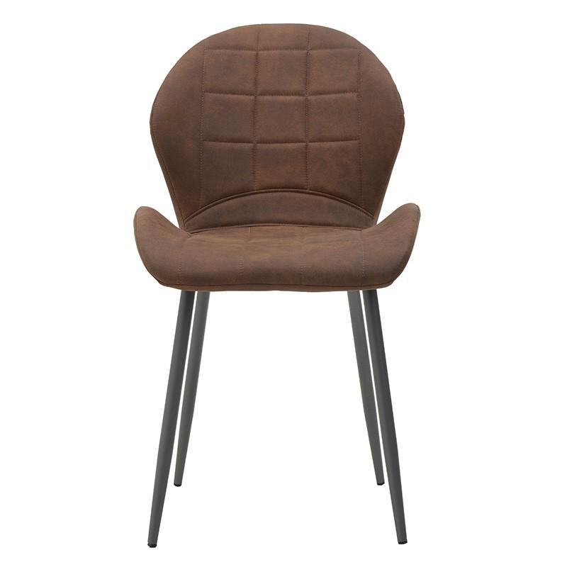 Модерен стол с извита седалка в кафяво - отпред