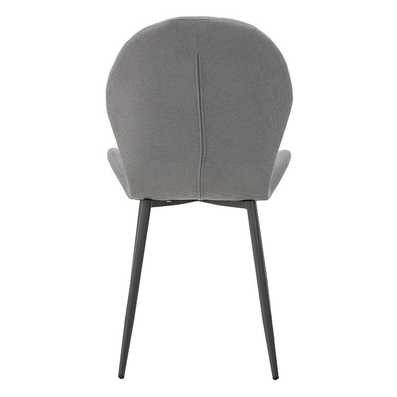 Модерен стол с извита седалка в сиво - отзад