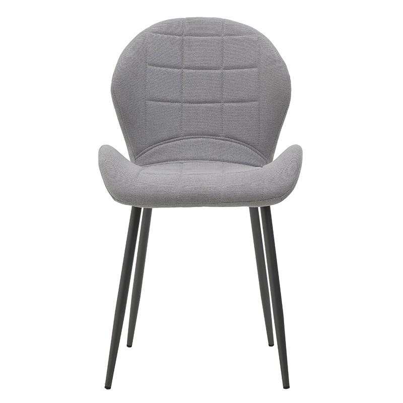 Модерен стол с извита седалка в сиво - отпред