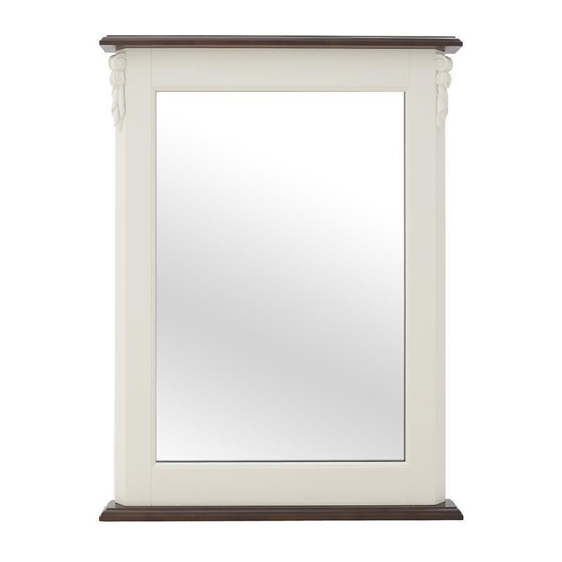 Огледало с дървена рамка в бяло и кафяво