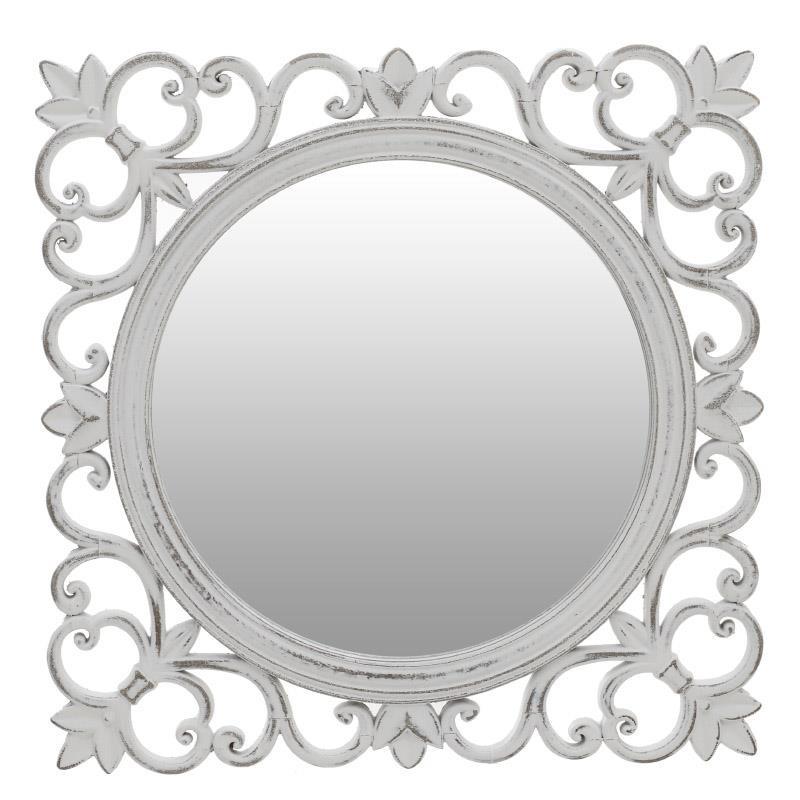 Стенно огледало с рамка в състарено бяло