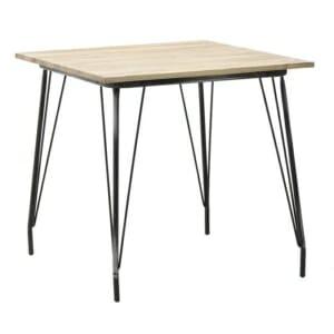 Трапезна маса с метални крака и дървен плот