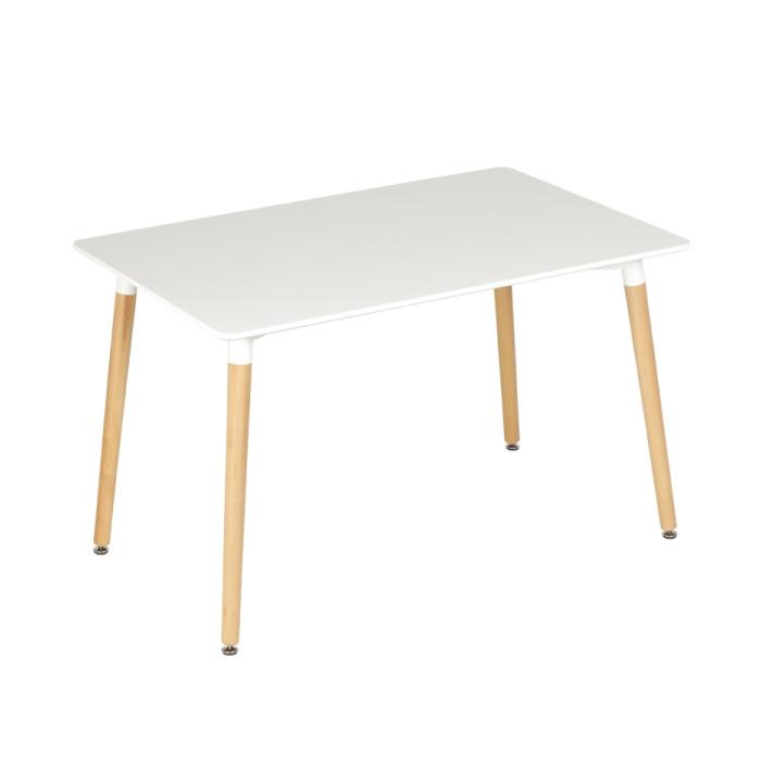 Бяла правоъгълна трапезна маса в скандинавски стил