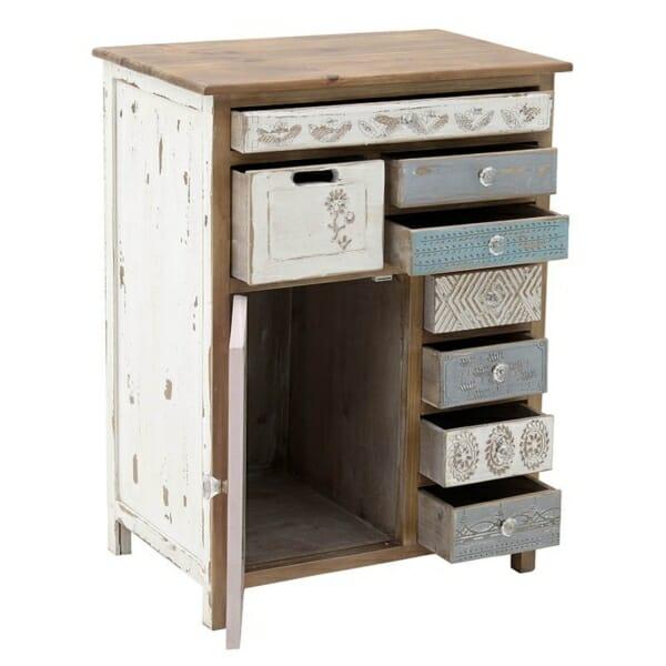 Дървен шкаф с чекмeджета Shabby Chic - отворен
