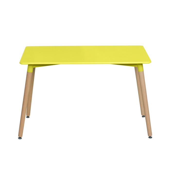 Жълта правоъгълна трапезна маса в скандинавски стил