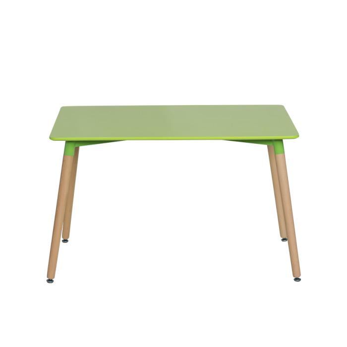 Зелена правоъгълна трапезна маса в скандинавски стил